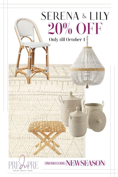 Sale Alert! 20% off at Serena and Lily. Time to get shopping on some great pieces for your home. Whether it's for yourself or for a love one, it's a great excuse to start some holiday shopping.  Home, home decor, interior design, interior decor, interior decoration, rug, performance rug, chandelier, stool, basket, neutral theme, bohemian style, beach style, coastal style  #LTKsalealert #LTKhome #LTKGiftGuide