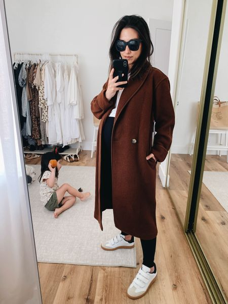 Aritzia Charlize coat (can't be linked). Wearing the xxs. Sneakers are Isabel Marant. Went up to a 36.     #LTKshoecrush
