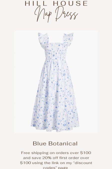 Hill house nap dress. Summer dress. Sundress. Feminine dress. White and blue dress. Floral dress. Maternity dress.   #LTKSeasonal #LTKbump