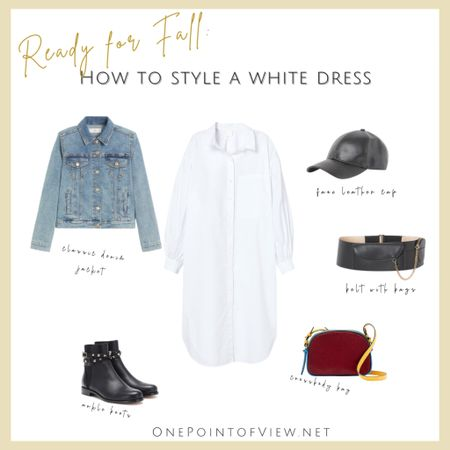 Ready for fall😍😍How to style a white dress, Fall outfit idea - fall street style, fall fashion, fall outfit, denim jacket, oversized white dress, belt with bags, camera bag, crossbody bag, ankle boots, leather cap http://liketk.it/2XdYQ #liketkit @liketoknow.it #LTKcurves #LTKsalealert #LTKstyletip @liketoknow.it.europe