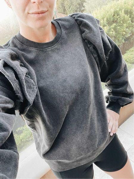 Black ruffle sweatshirt and biker shorts 🖤🖤🖤  #LTKfit #LTKstyletip #LTKunder100