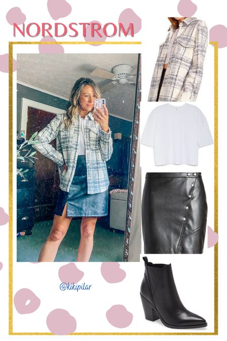 Nordstrom Anniversary Sale // leather skirt // plaid shacket // outfit inspo   #LTKsalealert #LTKstyletip #LTKSeasonal