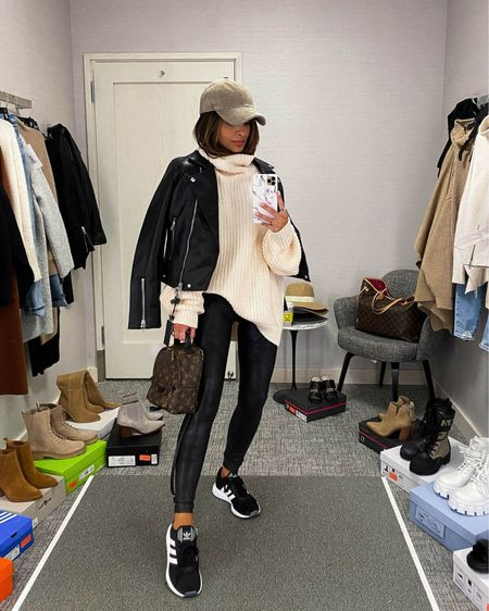Casual fall outfit  Blank NYC Faux Leather Jacket  Spanx Faux Leather Leggings (15% off at Farfetch) Free people chunky knit sweater   #LTKunder100 #LTKstyletip #LTKshoecrush