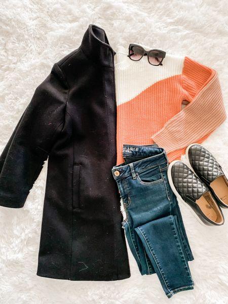Colorblock sweater, Old Navy sweater, sunglasses, black sneakers, jeans  #LTKSeasonal #LTKunder50 #LTKunder100