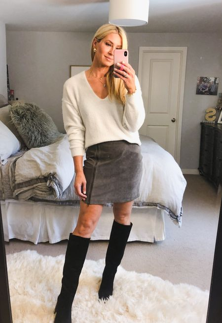Nothing like a soft sweater styled with a suede skirt and knee high boots! Effortless but leaves a big style impact. Boots fit tts. Skirt size up one and sweater is tts   #LTKsalealert #LTKstyletip #LTKunder100