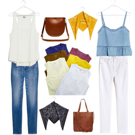 Great capsule wardrobe pieces. Save $25 when you spend $125+ and shop through the app.   Jeans : Denim : Madewell : White Jeans : Tote : Leather Bag : Bandana : Top : Summer Outfit    #LTKunder50 #LTKDay #LTKstyletip