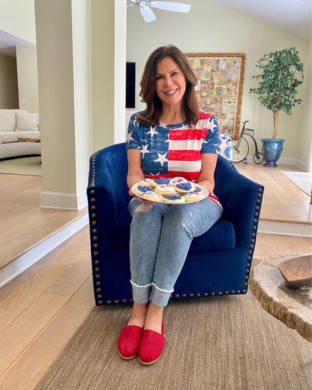 Celebrate the 4th all Summer with this cute look!   #july4th #4thofjuly #july4thfashion #patrioticvibes #ageisjustanumber #over60andfabulous #ig50community #redwhiteandblue #spiritofsmerica #july4thbbq #fourthofjulyweekend  #patrioticstyle #recipeshare #gwenliveswell #wereallinthistogether #americathebeautiful #letfreedomring #americasbirthday #funfashion #glamma #grandmothersofinstagram #styleover50 http://liketk.it/3iyX3 #liketkit @liketoknow.it Shop your screenshot of this pic with the LIKEtoKNOW.it shopping app