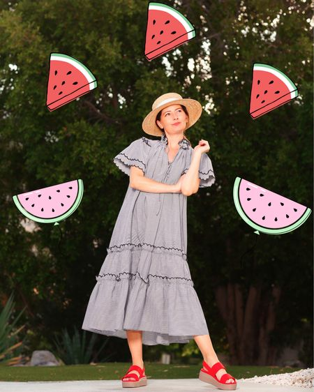 Watermelon 🍉on my mind... 🍉What's your favorite part of July 4th? 🇺🇸 Fireworks? Food? Fashion?   This dress is from @bunnyandbabe. Sadly this dress isn't available but there's a light blue striped version by the same brand I love even more. And their edit is excellent.  I linked more faves by this same brand, the top version of this dress, and my shoes & hat (under $50) at the link in my bio. Just click Shop My Instagram. 🍉🍉🍉   http://liketk.it/3iHHu #liketkit @liketoknow.it #LTKunder100 #LTKshoecrush #LTKunder50