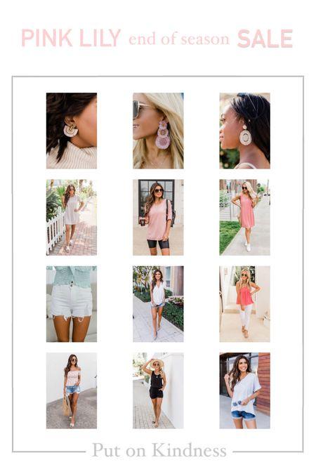 Pink Lily Boutique end of season sale. Beaded statement earrings. Denim white cut offs. Romper. Summer dress. Sleeveless flowy top. Animal print shirt. Women's tee. Oversized tshirt.   #LTKunder50 #LTKstyletip #LTKSeasonal