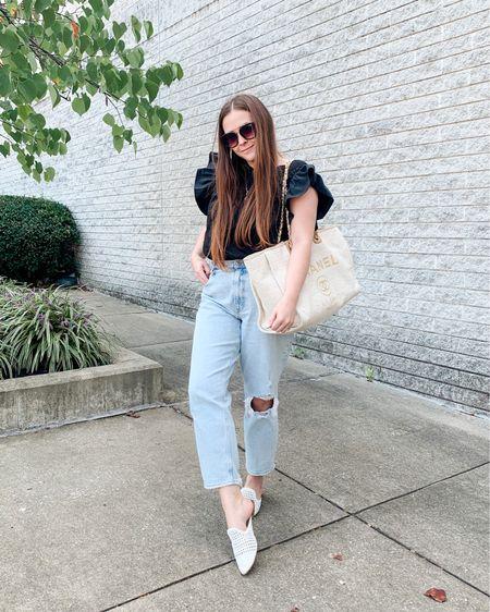 Bodysuit from Express Mom jeans Abercrombie  #bodysuit #expressbodysuit #bodysuits #momjeans #abercrombiejeans #falloutfits #abercrombie #falloutfit #falltransitionoutfit #totebag #chanelbag #tweedbag   #LTKitbag #LTKSale #LTKunder50