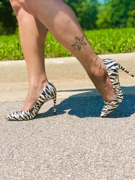 J.Lo fraya pump heels 👠 these are so cute! I love the zebra print, has a hint of sparkle and it looks white on this pic but it's more like cream/beige color. I love that!   #LTKtravel #LTKshoecrush #LTKunder100