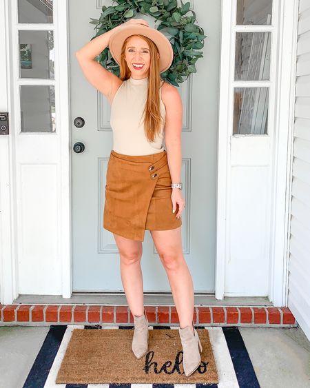 Nordstrom anniversary sale dupe outfit   Amazon suede skirt runs small. I sized up to the medium.                   Nsale  Amazon fashion  Amazon finds  Amazon dupe  Booties  Fall outfit  Early fall  Suede skirt  Sleeveless turtleneck  Booties   #LTKsalealert #LTKstyletip #LTKunder50