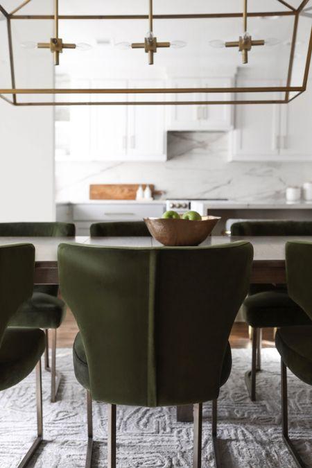 @liketoknow.it #liketkit http://liketk.it/2N2Yu #StayHomeWithLTK #LTKhome #LTKfamily @liketoknow.it.home @liketoknow.it.family #diningroom #furniture #modernhome #diningchairs #lighting #chandelier #greenchair #goldmarble #brasslight #diningtable #diningroom #wfh
