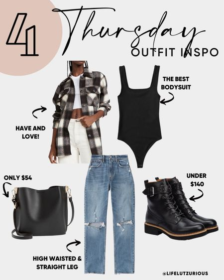 Thursday OOTD - Shacket Outfit, Fall outfit, fall fashion, curve love jeans, bodysuit, combat boots, bags under $60   #LTKSeasonal #LTKshoecrush #LTKstyletip