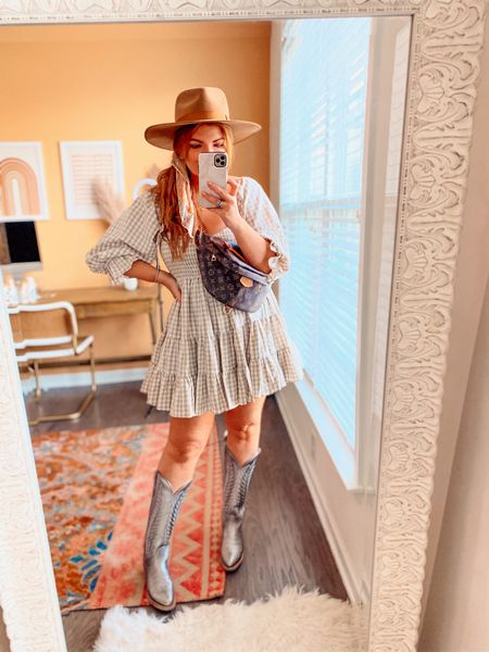 Country concert outfit idea   Gingham dress, TTS! I'm a 34D and got a large and needed a medium.   Hat and boots linked.   Bandana is on sale with an extra 30% off making it under $20 with code SALEONSALE     #LTKunder50 #LTKstyletip