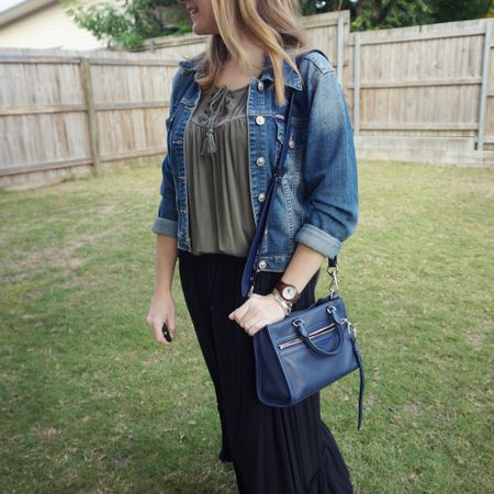 Blue and green again with an olive embroidered tank and a classic blue denim jacket that goes with everything and I've had for over a decade! 💙💚  The navy Rebecca Minkoff micro Bedford bag was a bit of matchy matchy with that denim jacket, but also because you can't go wrong with neutral navy olive and black together!  This thrifted maxi skirt is a fave, nice and light but can still be layered when it's cooler!  ------------------   ---------------- -----------------------------------------  Screenshot this pic to shop the product details from the @liketoknow.it app, or click here: http://liketk.it/3hQ7c #liketkit #LTKitbag #RebeccaMinkoff #myRM #maxiSkirtStyle #everythingLooksBetterWithABag #realeverydaystylepic #everydaystyle #realmumstyle #wearedonthestreet #winterstyle