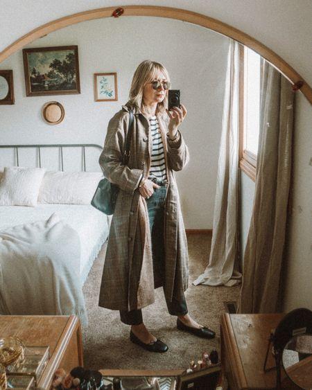 Trench coat, Breton stripe tee, black ballet flats   #LTKSeasonal
