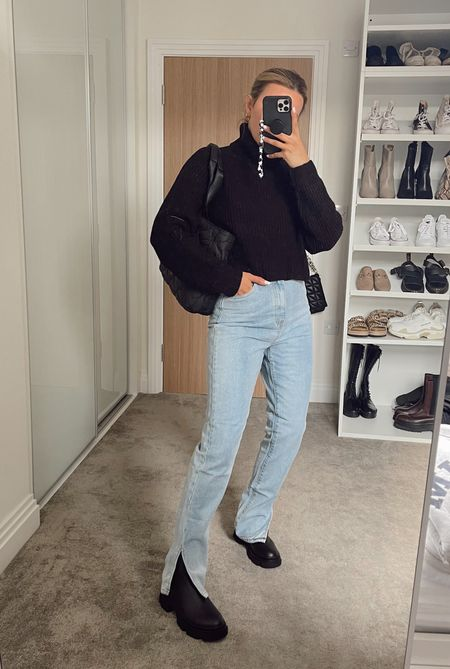 Full outfit from missguided styling a cropped turtleneck knit with slit hem straight leg blue jeans and chunky black boots - autumn outfit inspiration 🍁🍂   #LTKunder100 #LTKeurope #LTKSeasonal