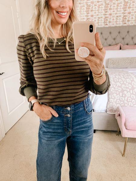 Always drawn to stripes!   Top: XS Jeans:0  #LTKunder50 #LTKsalealert #LTKstyletip