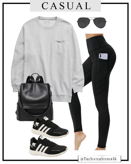 Casual outfit option. Oversized sweatshirt. Amazon leggings. Sneakers are true to size and sooo comfy.    #LTKshoecrush #LTKstyletip #LTKtravel