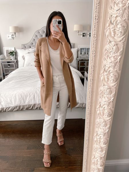 40% off my outfit of wardrobe staples - love this long jcrew cardigan jacket (xxs fits loose on me), slim straight crop corduroy pants in 24 petite (perfect fit), my everyday Ann Taylor layering shell top in xxs petite, and very comfortable Vince camuto braided slide sandals sz 5.5. Can swap in flat shoes to make this a comfortable teacher outfit or swap in the Cameron ankle pants to make this a business casual work outfit  #LTKstyletip #LTKunder100 #LTKbacktoschool #teacheroutfit #workoutfit