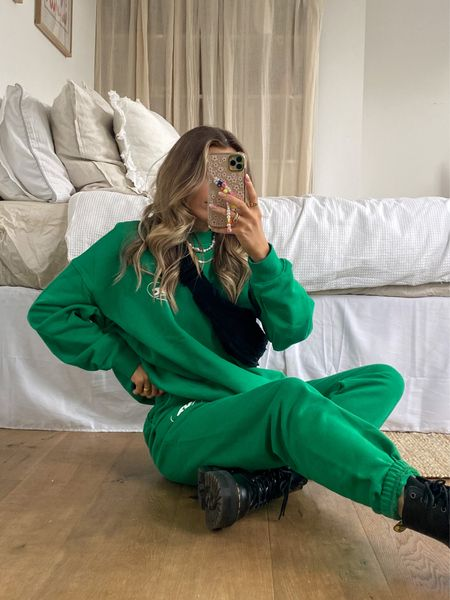 This adanola green jogger set tracksuit is to die for and looks amazing styled with a pair of chunky dr marten jadon boots and this gorgeous cos black bag     #LTKeurope