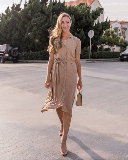 Run, don't walk, because my favorite shirt dress I've ever recommended is on sale in camel and black! Fits TTS, has pockets, and the cut is incredibly flattering.  Shoes are old Steve Madden, exact Hunting Season bag sold out.