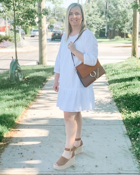White dress style.  Date night outfits.  Summer fashion.  Travel outfits.  Wedding guest dresses.  Summer dress.  Sandals.  Wearing size large in dress. Use code SASHA25 for $$ off! Shop my daily looks by following me on the LIKEtoKNOW.it shopping app http://liketk.it/3hQe6 #liketkit @liketoknow.it #LTKunder50 #LTKsalealert #LTKstyletip