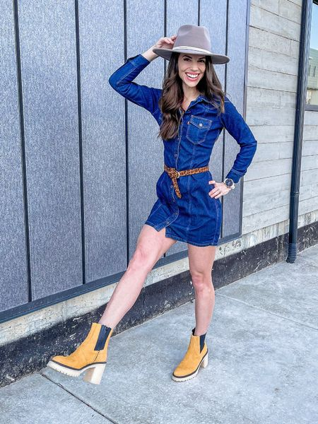 Spring dress | Spring Outfit | Levi's | Gigi Pip | Free People | Booties | Denim Dress | Wide Brim Hat | sales Alert | Dress is on sale! 30% off   Shop my daily looks by following me on the LIKEtoKNOW.it shopping app.   #LTKSeasonal #LTKsalealert #LTKunder100