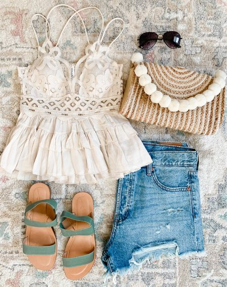 Summer outfit Walmart finds Vacation outfits Lace trim tank Mom shorts Cami  #summeroutfit #momshorts #shorts #walmartfinds #jeanshorts #denimshorts #abercrombieshorts #summeroutfit #summerstyle #tanktop #lacecami #lacetrimcami #freepeopledupe #abercrombie #vacationstyle #vacation #summersandals #bralettetank #adellatank #vacationoutfits #vacationoutfit #beachvacation #beachbag  #LTKSeasonal #LTKshoecrush #LTKunder50