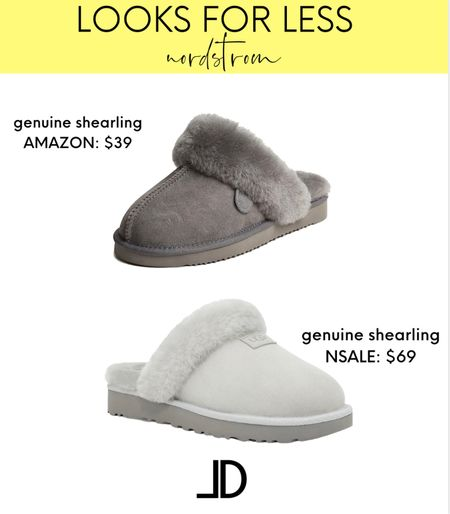 Nordstrom Sale Looks For Less   Both of these slippers are genuine shearling! Such a great deal at $39 and makes a great gift for someone or yourself.           _______ #nsale #nordstrom #loungewear #slippers #pajamas #barefootdreams #ugg #Leeannbenjamin #stylinbyaylin #cellajaneblog #lornaluxe #lucyswhims #amazonfinds #walmartfinds #interiorsesignerella #lolariostyle  #amazin  Follow my shop on the @shop.LTK app to shop this post and get my exclusive app-only content!  #liketkit #LTKshoecrush #LTKunder50 #LTKsalealert @shop.ltk http://liketk.it/3kyAV