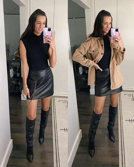 Nordstrom Anniversary sale. @liketoknow.it #liketkit http://liketk.it/3jFn0  , #LTKshoecrush #LTKsalealert #LTKunder100 nsale, coat, skirt, good American, shacket, bodysuit, leather skirt, black boots