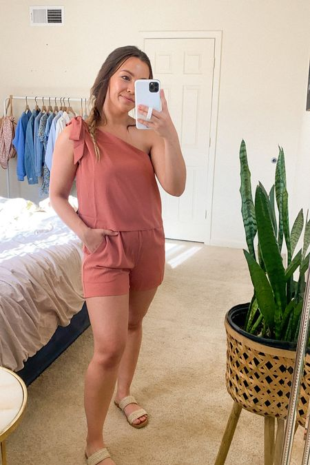 Pink One shoulder romper! Size small.  Pink Lily Style • Easter Outfit Idea • Spring Outfit • Summer Outfit   #LTKunder50 #LTKtravel #LTKunder100