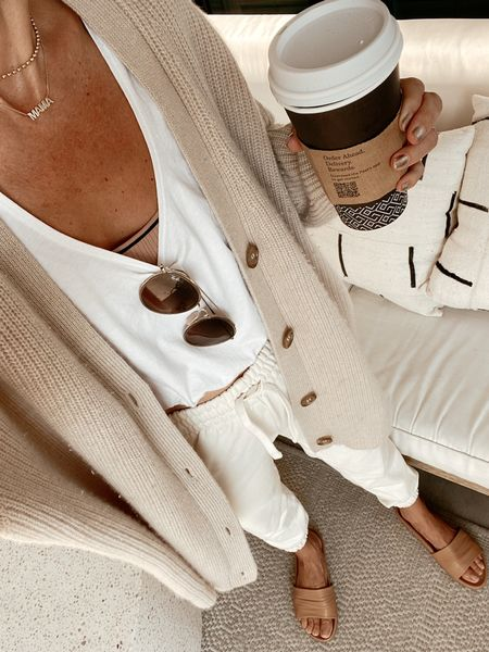 White joggers  White bubble tank Ribbed cardigan (linking an option from j.crew as well as this exact one which is jenni kayne, 15% off with code NATALIE15)  Buttery soft slides (15% off with code shannon15)    #LTKunder100 #LTKstyletip