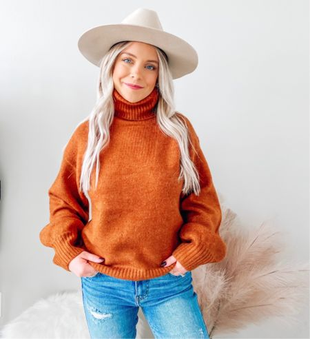 The perfect fall sweater 🍁 would be so cute to wear for Thanksgiving 🦃 . . . Thanksgiving outfit, sweater, rust sweater, turtleneck sweater, flat brim hat, fall outfit, red dress boutique   #LTKunder50 #LTKSeasonal #LTKstyletip