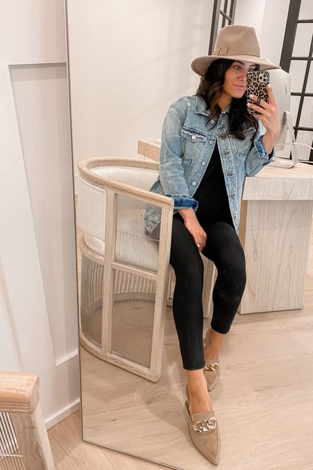 http://liketk.it/3jQsF  #liketkit @liketoknow.it  nsale jean jacket (xs) too (xs) leather leggings (tts or size up if between sizes)