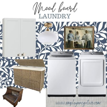 Laundry room renovation ideas, wallpaper, appliances, vintage art, art, cabinets, light, step stool   #modertraditional  #LTKhome #LTKGiftGuide