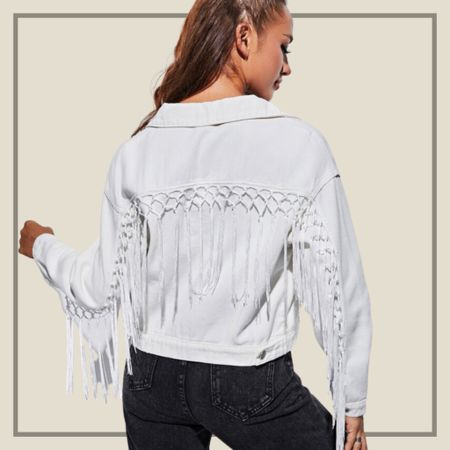White tassel denim jacket from Shein   #LTKstyletip #LTKunder50