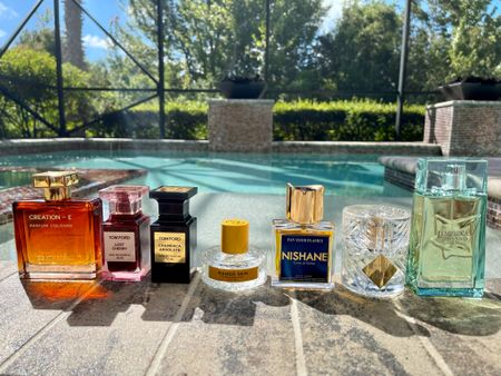 What do these 7 fragrances have in common? Find out in my latest YouTube video! 😆  #rojacreatione #tomfordlostcherry #tomfordchampacaabsolute #mangoskin #nishanefanyourflames #kilianrosesonice #greenlover #fragrancereview #bgwgs #fragrancelover