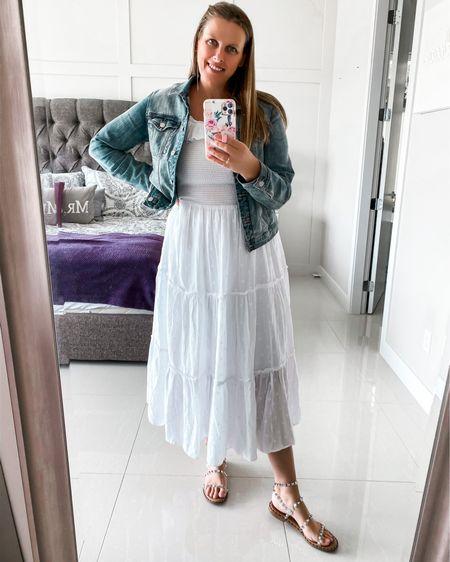Summer white dress  http://liketk.it/3gb6r @liketoknow.it #liketkit #LTKunder50 #LTKstyletip #LTKshoecrush #sandals #whitedress #denimjacket