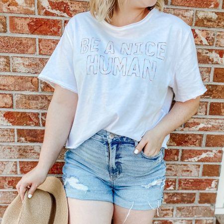 Be a nice human Cropped tee, affordable style, inclusion, kind tee, graphic tee outfit, mom shorts, summer hat, Walmart finds, aexme, Amazon hat, nail color essie polish, easy style, casual style, casual outfit, casual summer, summer styles.   http://liketk.it/2Q4OZ #liketkit #ltksummer #ltkmom #LTKunder50 #LTKsalealert #LTKstyletip @liketoknow.it