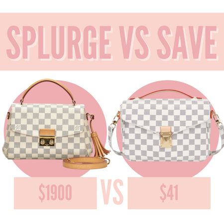 Splurge vs save — walmart vs louis vuitton! Love this white checker print bag from walmart that is inspired by this beautiful one from Louis Vuitton! #louisvuitton #walmart #purse #checkeredbag #inspired   #LTKunder100 #LTKitbag #LTKunder50