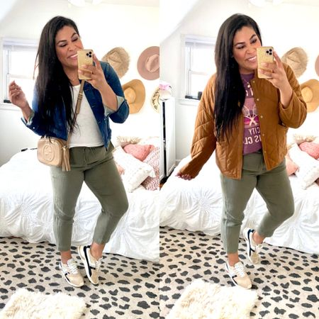 30 days of wear now, wear later midsize outfit ideas for fall!  These linen pants are so lightweight + come in multiples colors + are ON SALE! Use code MORE at Loft — wearing a size L   wear now: with a plain white tee from Target (TTS, XL) with a wit & wisdom nordstrom denim jacket (TTS), really cute Gola shoes (size down) and a neutral crossbody   wear later: with a $15 graphic tee from Target (Size up for oversized, XXL) and a quilted cognac coat from Walmart fashion (TTS, XL)   midsize, mid size, plus size, casual outfits, size 12, size 14, affordable fashion, transitional style, midi dress, casual dress, fall coat, fall outfit ideas, linen pants, casual pants, olive green, loft   #LTKcurves #LTKSeasonal #LTKunder50