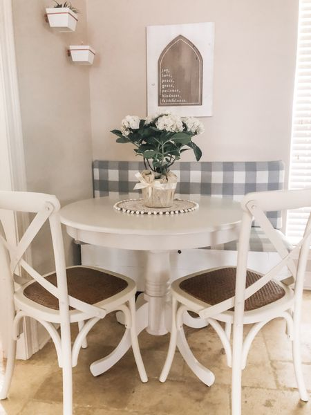 The farmhouse breakfast table is my favorite spot in the house to drink my morning coffee. With the cozy bench and bright lighting, it is truly a relaxing place to welcome the day.    Download the LIKEtoKNOW.it shopping app to shop this pic via screenshot    @liketoknow.it @liketoknow.it.home #liketkit #LTKfamily #LTKhome http://liketk.it/3go7c