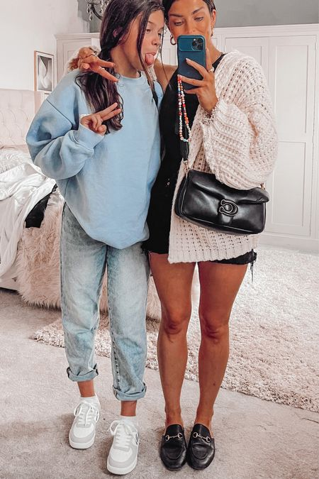 Mum and daughter style  Hand knitted cardigan  Gucci mules Blue vintage sweatshirt  Grey and white air force 1  #LTKstyletip #LTKshoecrush #LTKeurope