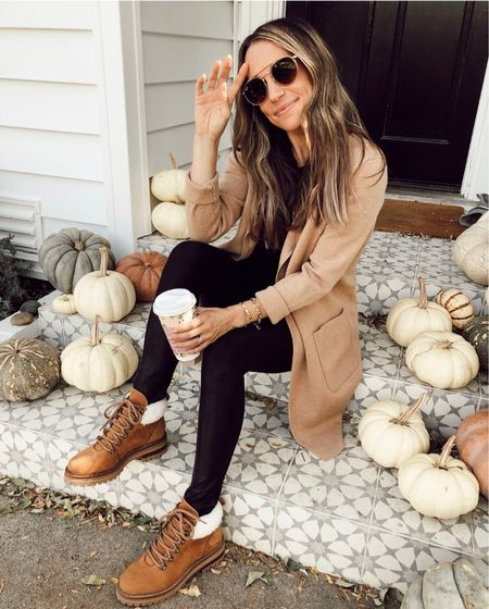 J. Crew coatigan (I recommend sizing down, wearing an xxs) 30-40% off with code MOREFALL  Linking similar lug boots (these are old M. GEMI)    #LTKstyletip