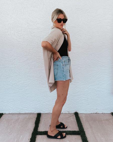 Shorts & sandals run TTS! #LTKunder100 #LTKunder50 #shorts #denim #denimshorts #cutoffs #levis #amazonfashion #bodysuit #sandals #sunglasses #minimalstyle #summerstyle #outfits #liketkit @liketoknow.it http://liketk.it/3fTbp