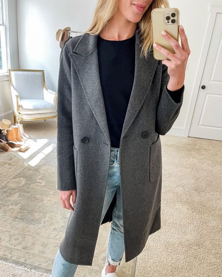 This double breasted coat from the Nordstrom Anniversary Sale is marked down again! It's a great lightweight layering piece for early fall—definitely not a cold weather coat, but perfect for 40-60s temps. Wearing size XS as it runs oversized. Sweater is TTS. Jeans run small (size up if between sizes).  #greycoat #graycoat #fallcoat #fallcoats #blacksweater #everlanesweater #woolcoat