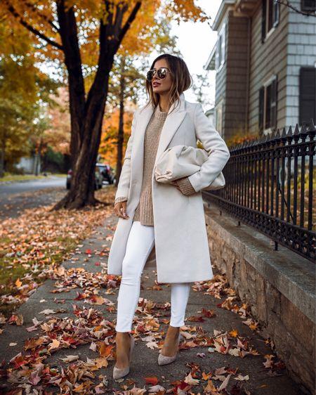 Fall outfit ideas  Mango white coat wearing an XS  Gianvito Rossi pumps    #LTKsalealert #LTKstyletip #LTKworkwear