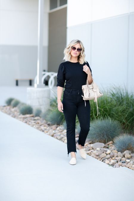 All black for a elevated casual look//. Black frame long-sleeve, black cropped denim, the perfect mule and a balenciaga purse 🖤  #LTKstyletip #LTKSeasonal #LTKitbag